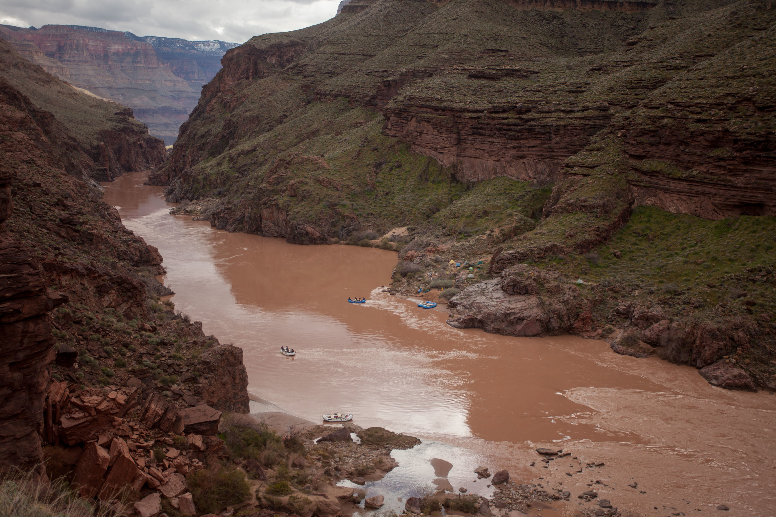 Crossing the Colorado River at Deer Creek for a lay-day exploration.