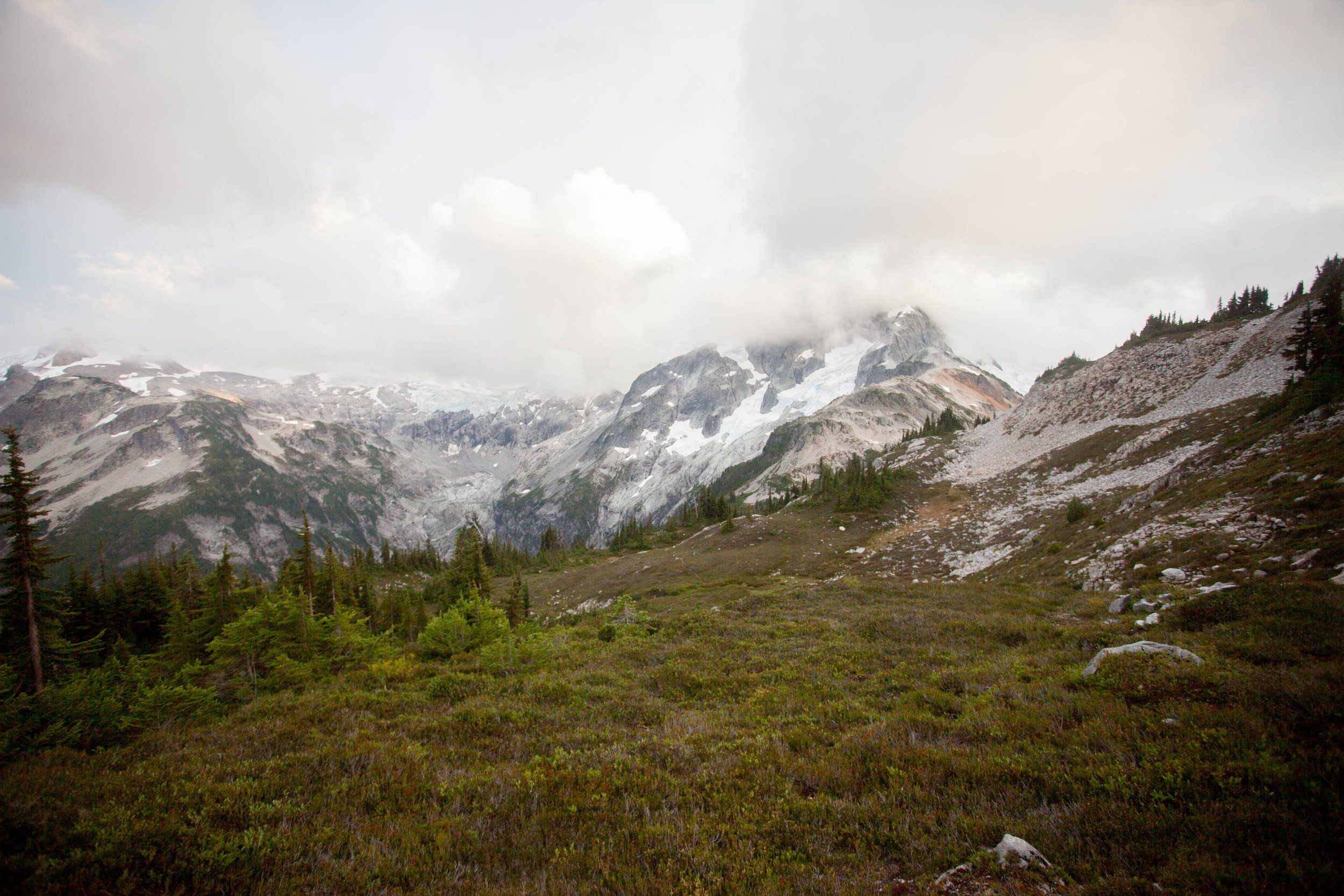 The bases of Whatcom Peak and Challenger in the clouds
