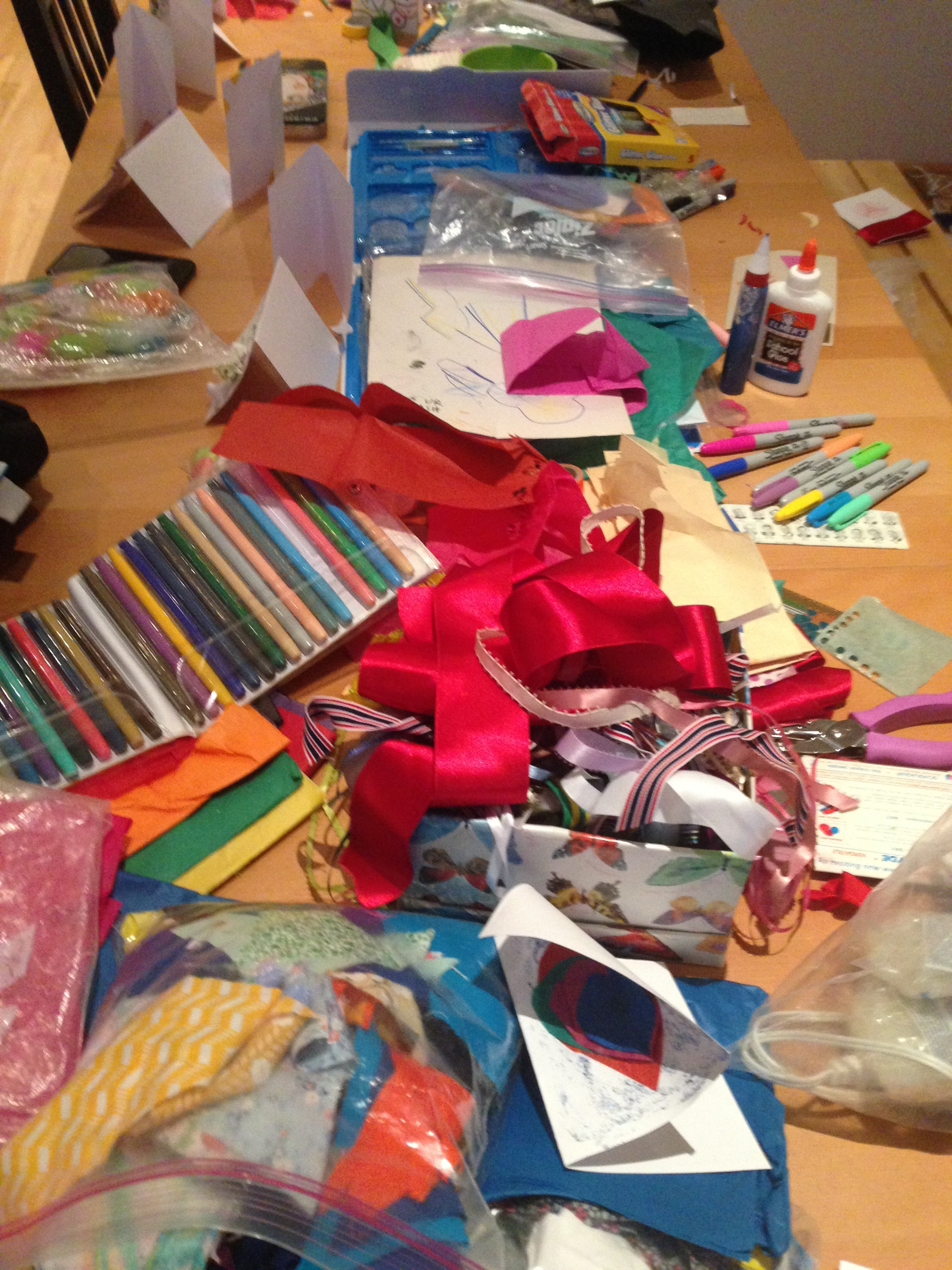Ribbons, markers, fabric, glitter, stickers!