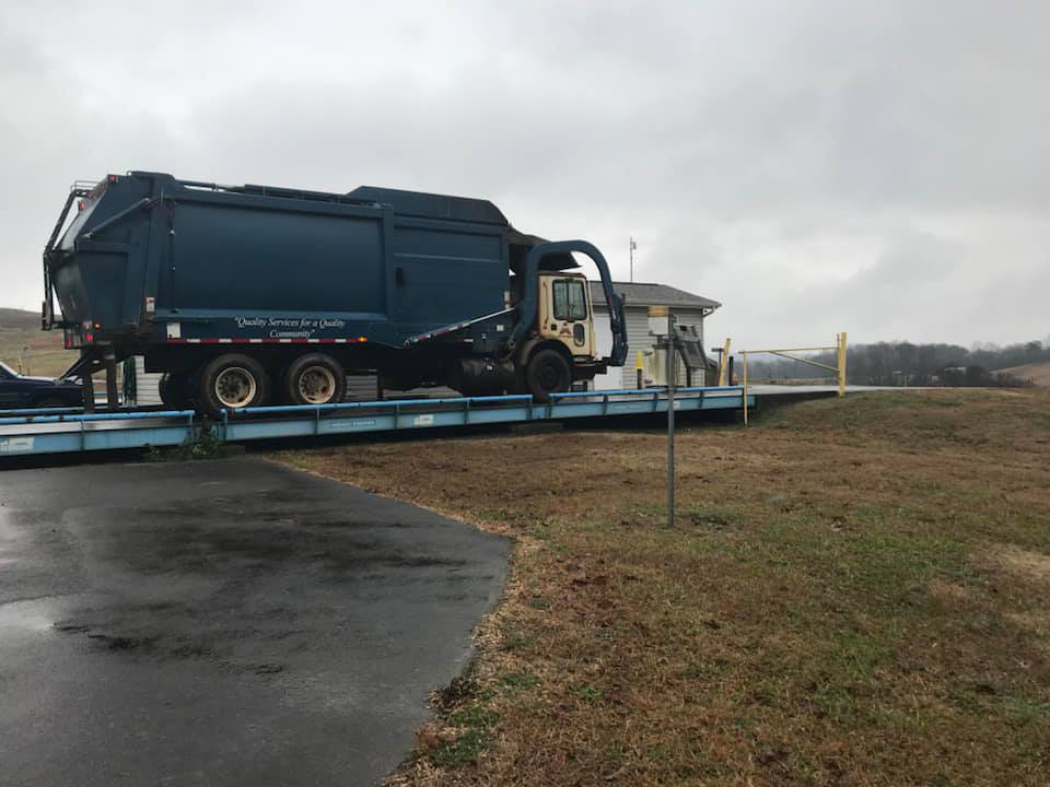 When entering the landfill, trucks must first stop at the scale house to be weighed.