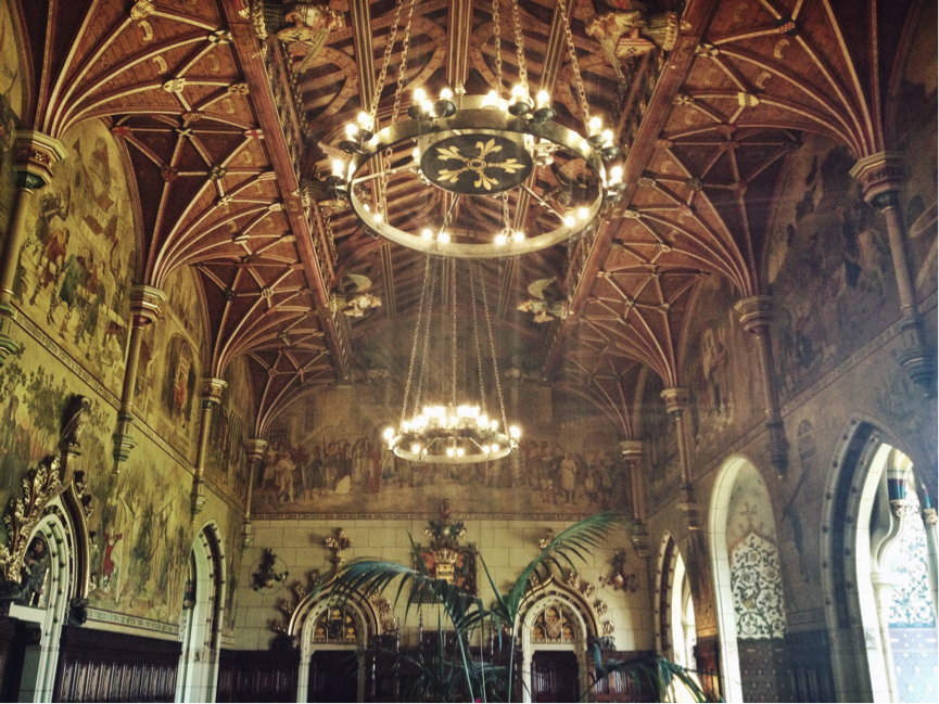One of the many beautifully decorated rooms inside Cardiff castle.