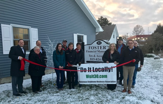 Red Ribbon Cutting with Waterman-Shabbona Business Association members at Foster's Financial Management and Foster's Tax & Accounting celebrating their new location in Shabbona.