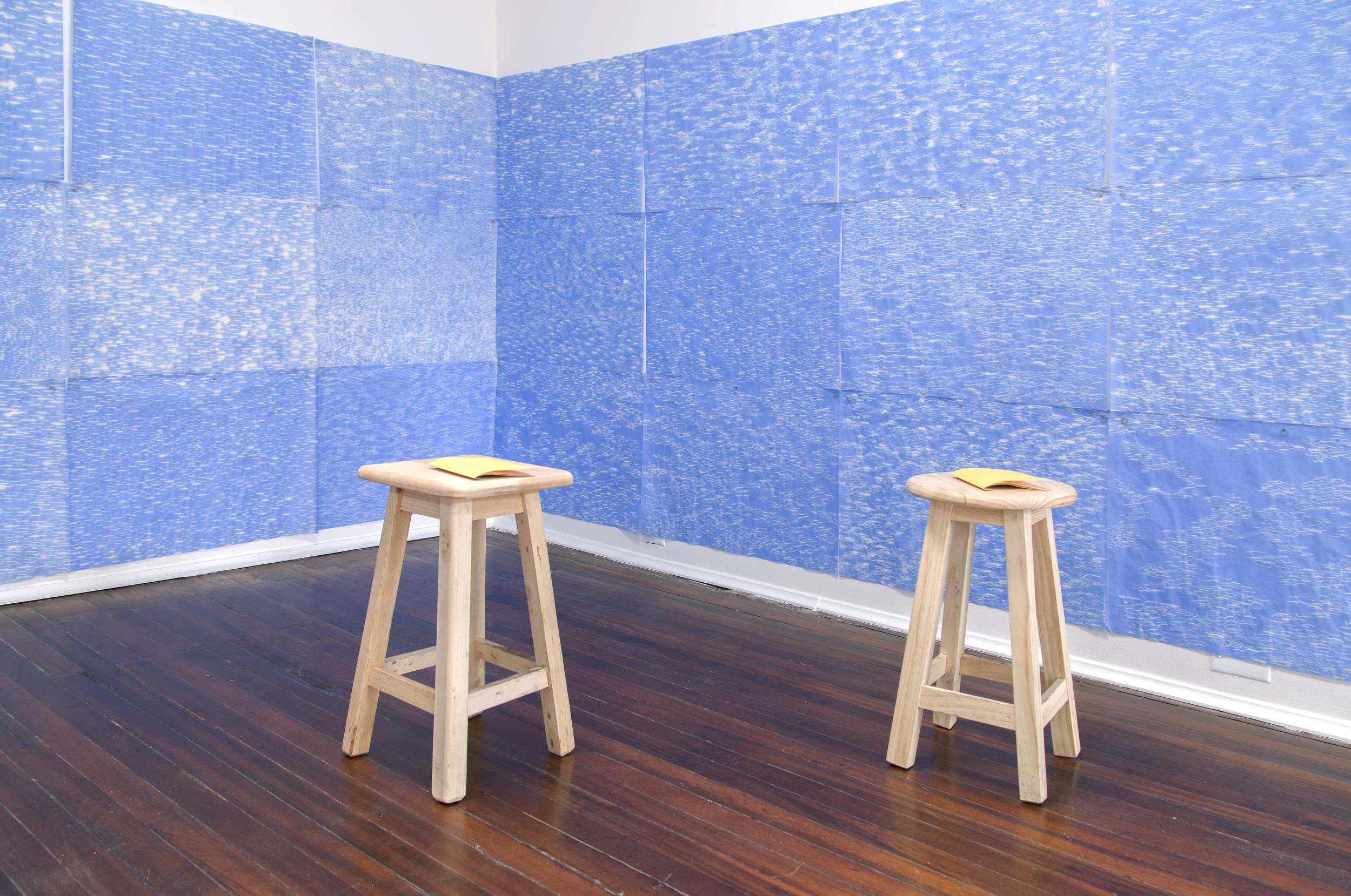 "A CONTRALUZ, 2014  Exhibición individual, vista de sala tercer piso.  ""A contraluz""   hipoclorito de sodio sobre papel de seda   Medidas variables   2014"