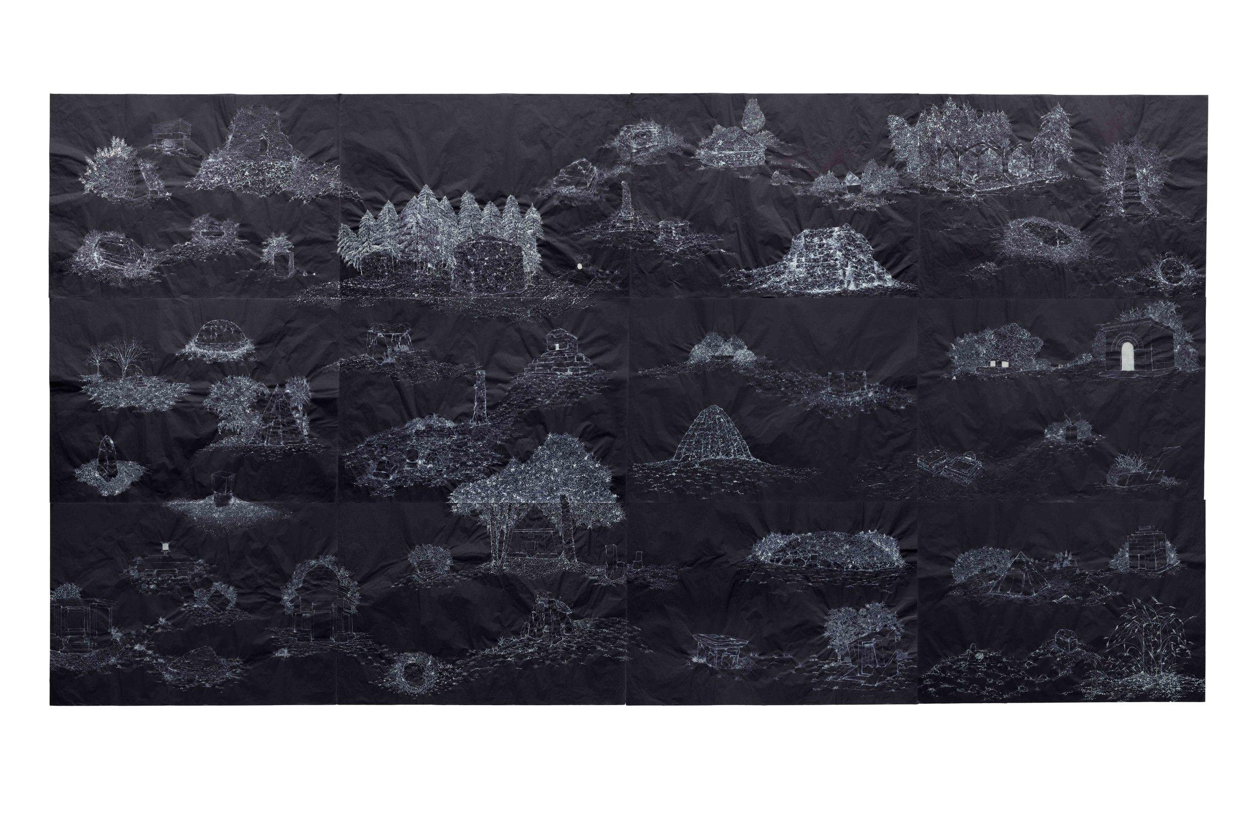 """""""Los ombligos del mundo""""   Hipoclorito de sodio sobre papel de seda   150 x 280 cm   2013"""