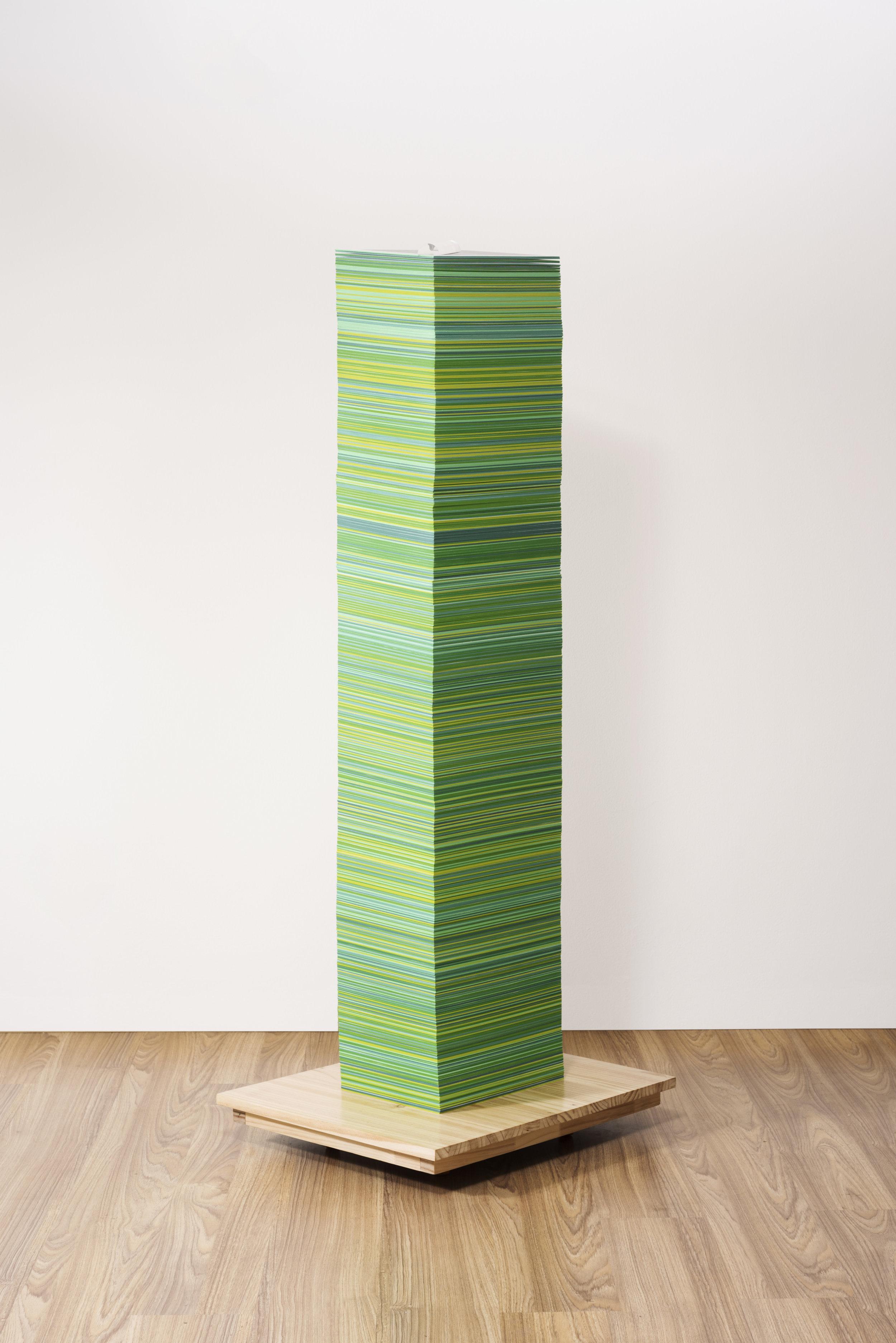 """""""Archivo Verde""""   Impresiones digitales y base de madera   140 x 40 x 30 cm   2016"""