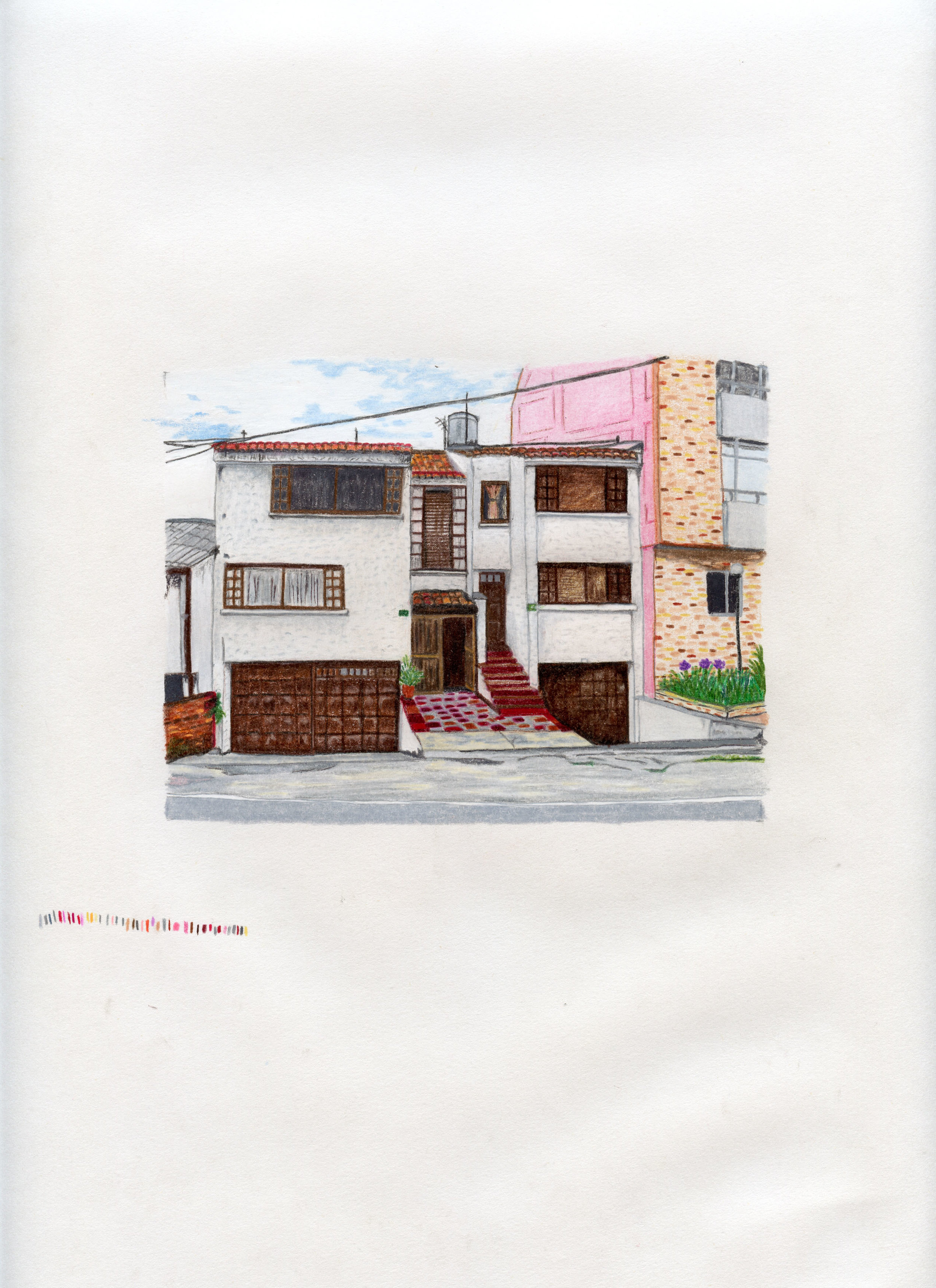 """Estudios de caso""   Lápices de colores sobre papel   25 x 35 cm   Serie de 20 dibujos   2010 - 2015"
