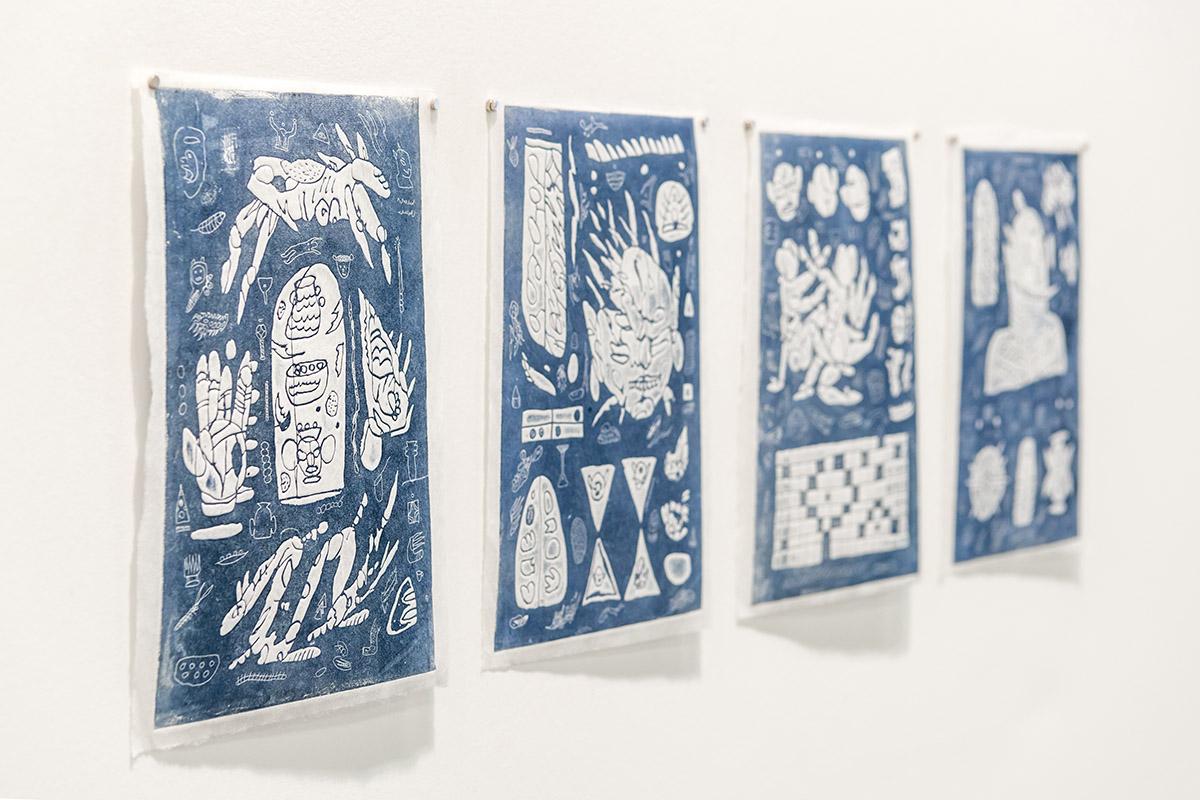 Matias Armendaris, 'Blueprint' (I, II, III, IV), Monotype, ink on koso paper, 6.3 x 9.4 in (each), 2017
