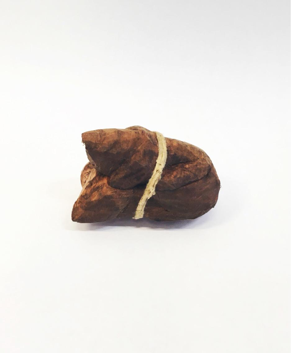 Matias Armendaris, 'Ataúd de una mosca', sculpture, wood carving and rope, 1.5 x 1 x 2 in, 2017