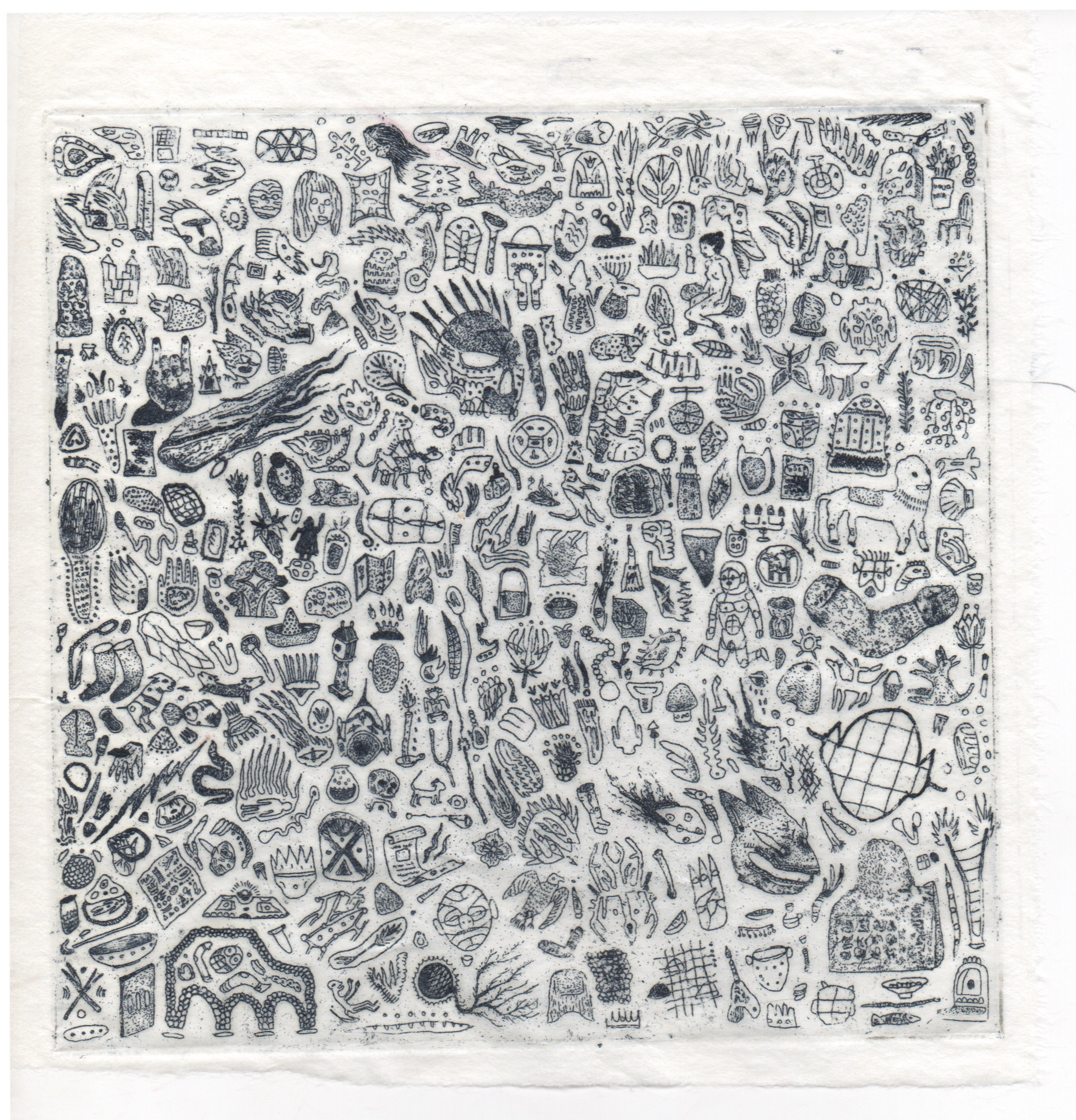 Matias Armendaris, 'Leyenda Original', Etching, etching on kozo paper, 6 x 6 in, (Unique piece), 2017