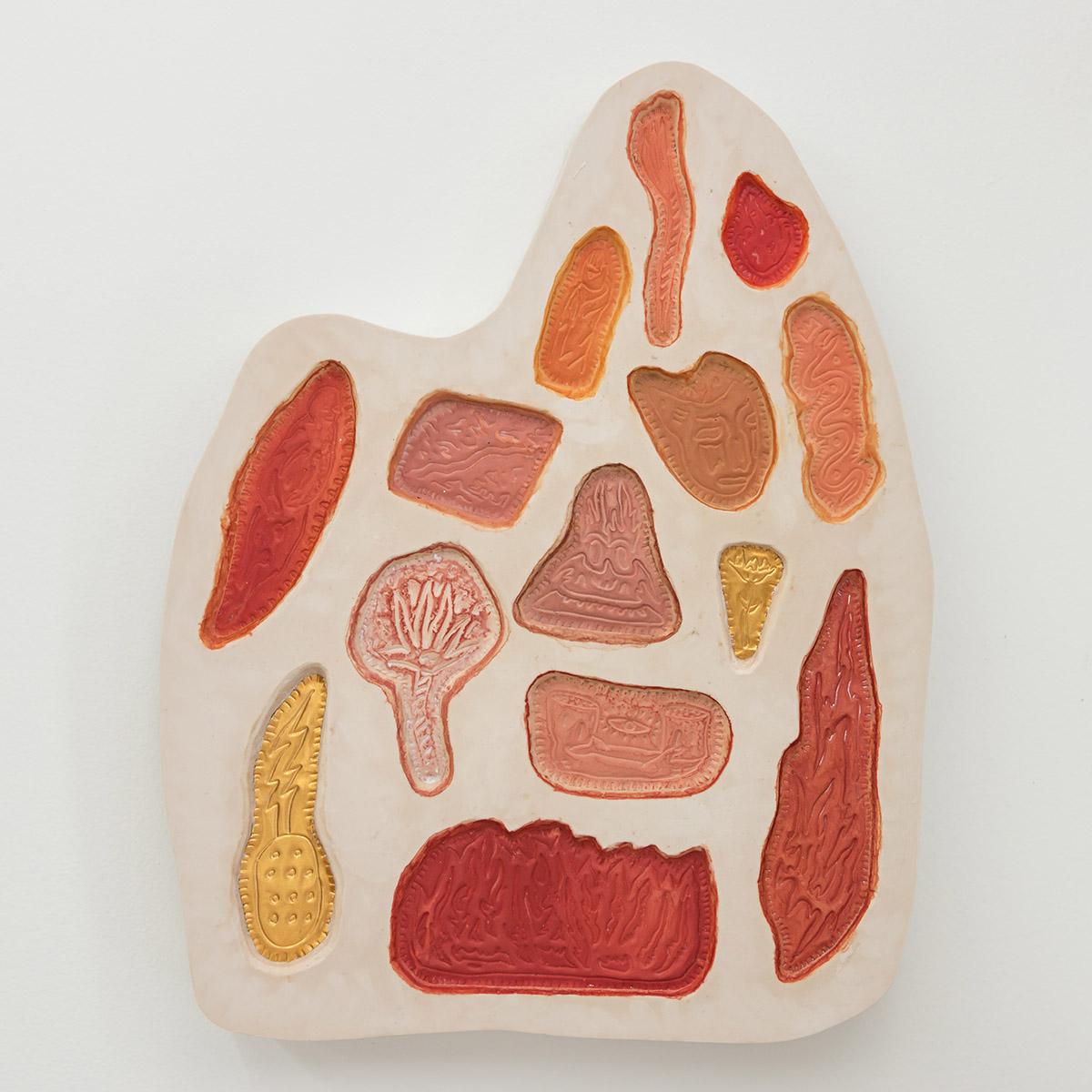 Matias Armendaris, 'Mixing Tablet I', Sculpture, Aqua-Resin, embossed brass, fiberglass, pigment, 17 x 24 x 2,5 in, 2017