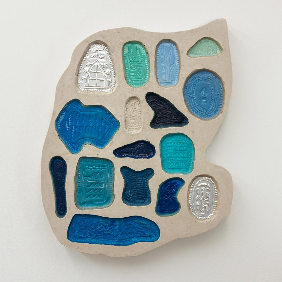 Matias Armendaris, 'Mixing Tablet II', Sculpture, concrete, Aqua-Resin, embossed brass, pigment, 18 x 22 x 2,5 in, 2017