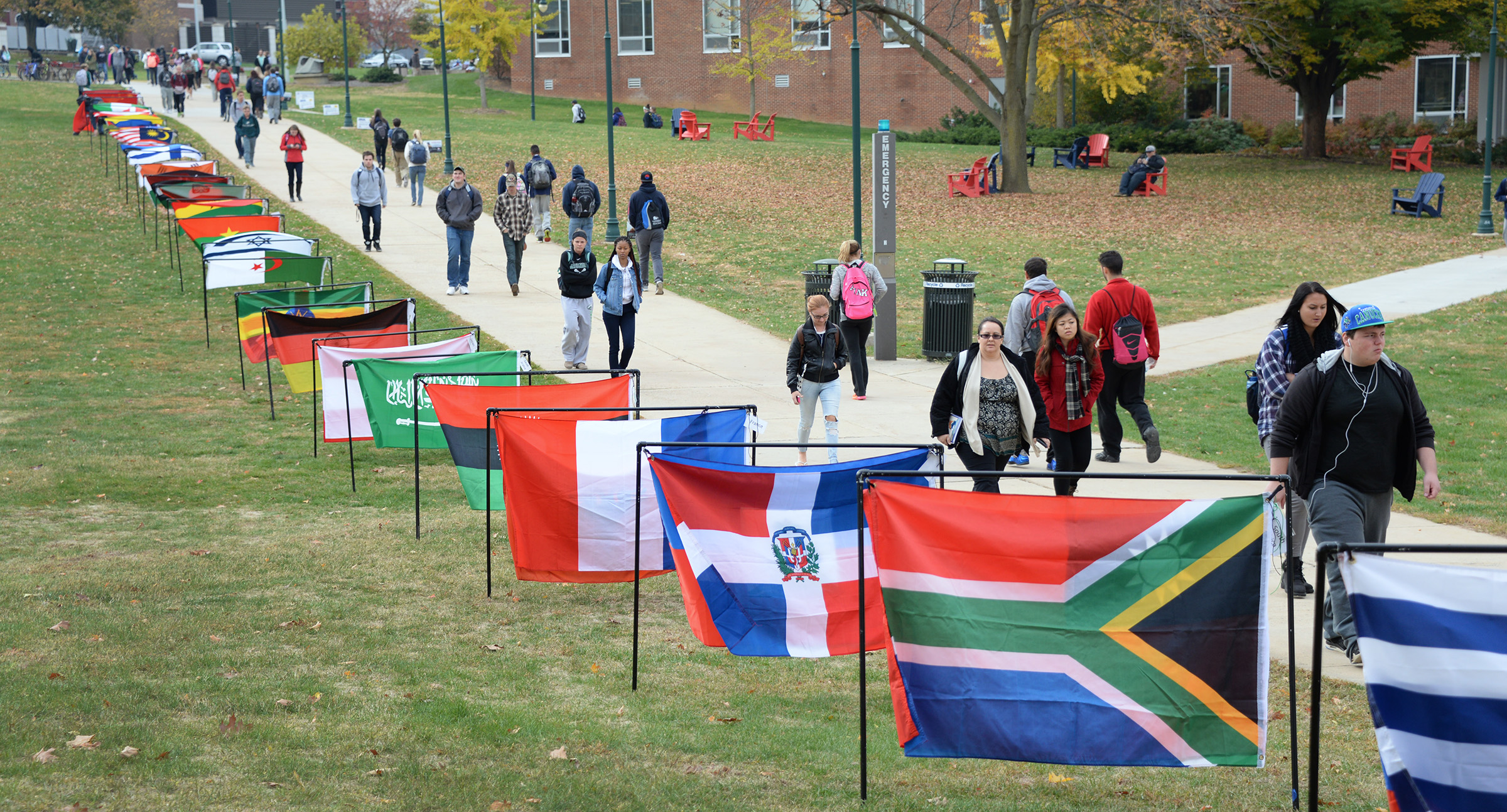 During International Students Week, Ship displayed flags on the quad to represent the different countries of our international students, faculty, and staff.