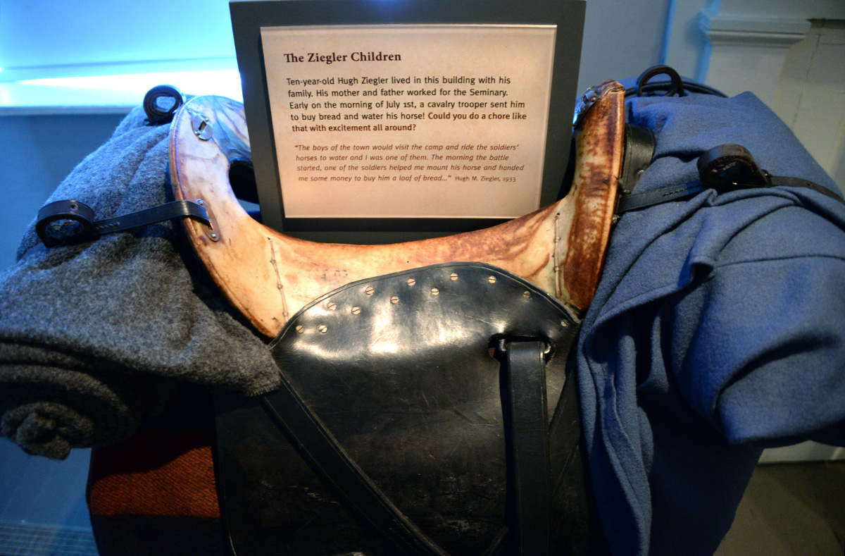 The saddle of a Civil War soldier's horse at the Seminary Ridge Museum in Gettysburg.