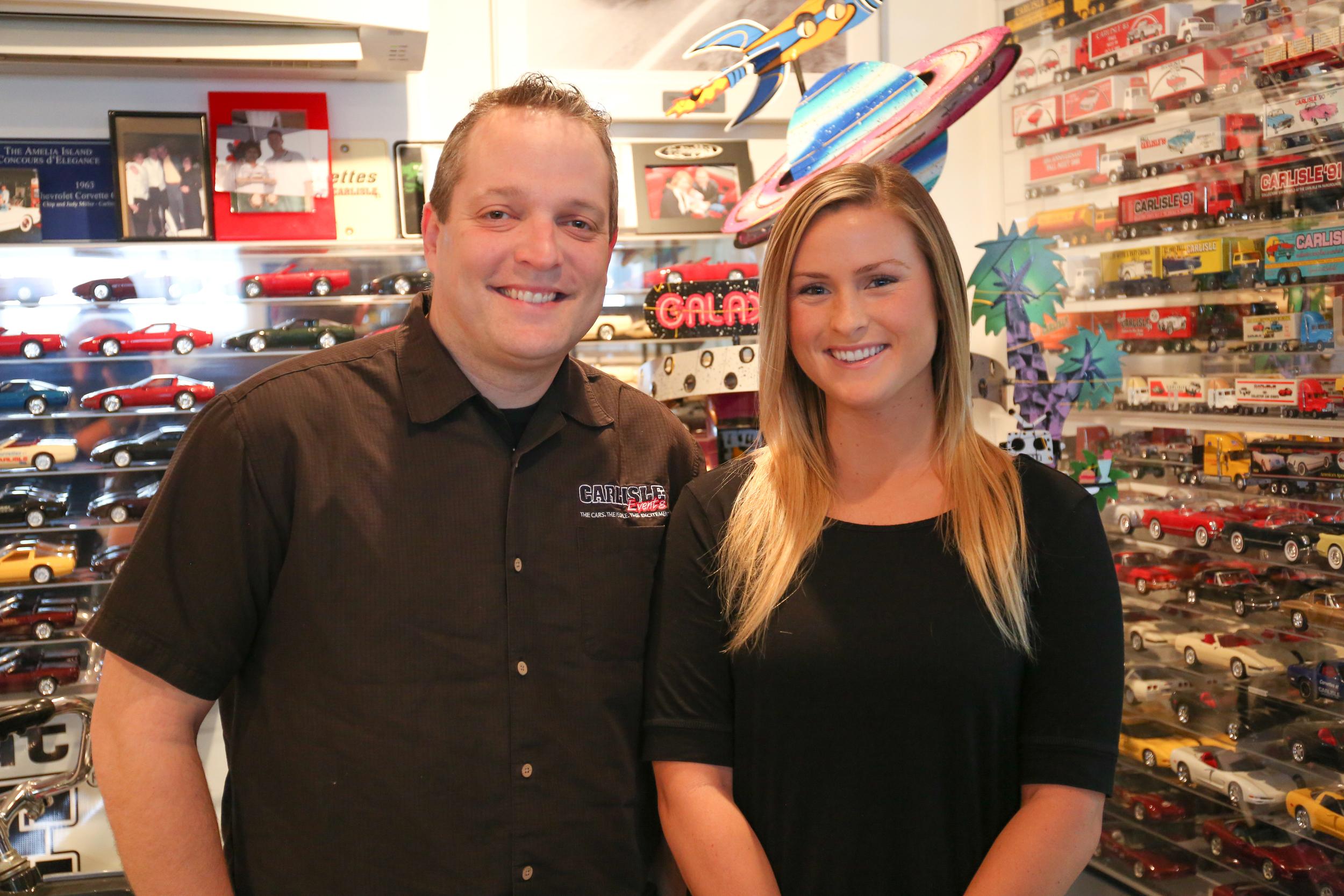 Mike Garland '01 and Sarah Burkarth '14 at their Carlisle Events office.