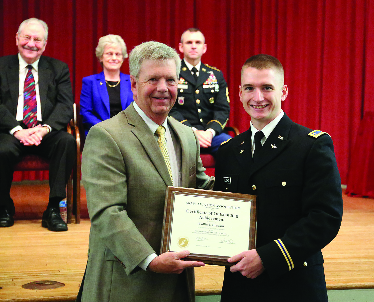 During commissioning in May, Collin Brackin '16 received a Certificate of Outstanding Achievement from the Army Aviation Association. Brackin was named US Army Cadet of the Year in 2015.