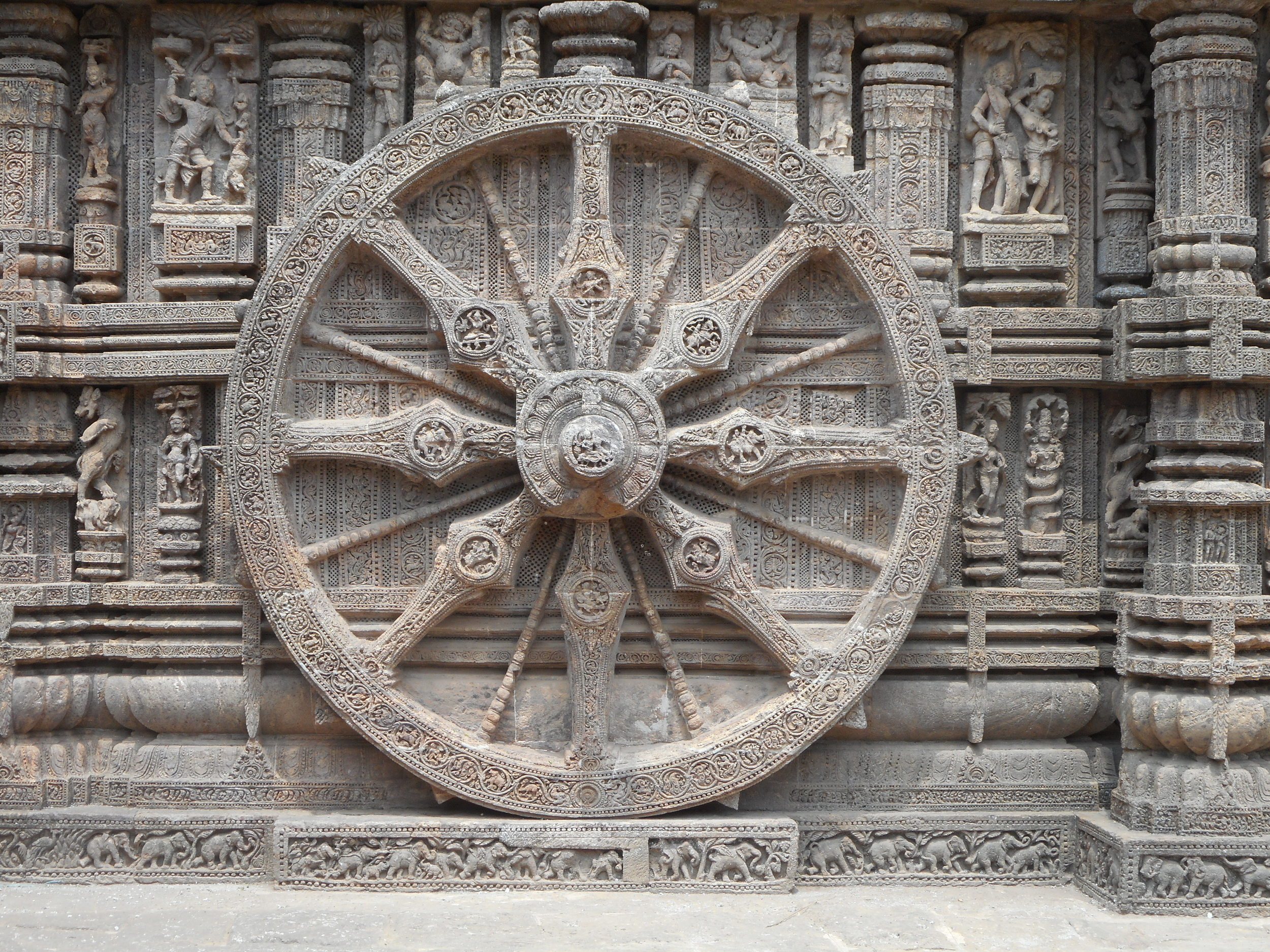 An intricately sculpted temple in Konark, India.