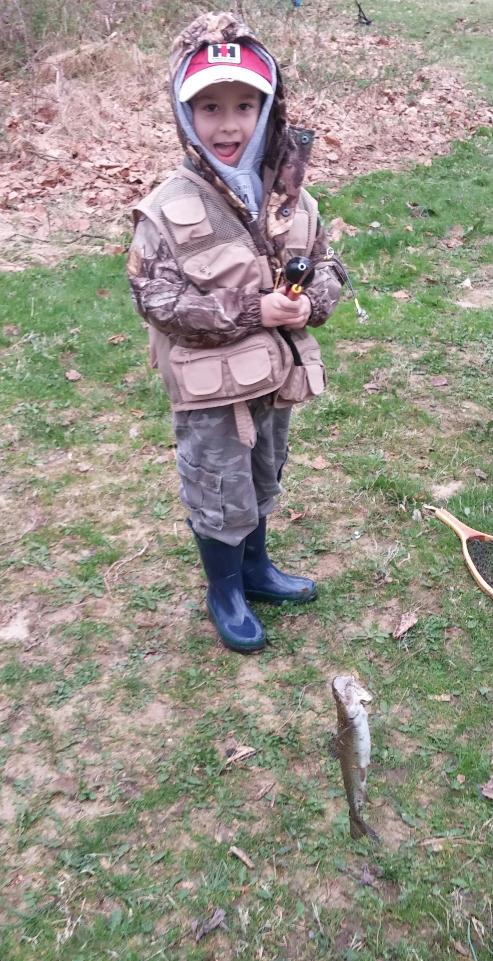 Proud dad Curtis Stambaugh '94 snapped a photo of his son Levi's first trout.