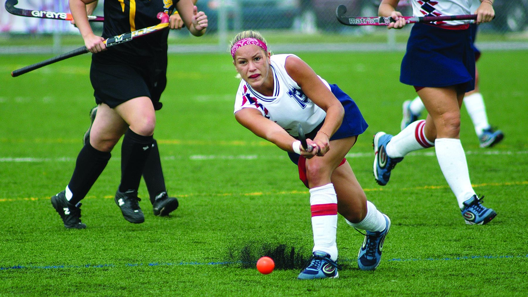 Playing field hockey as a student at Ship.