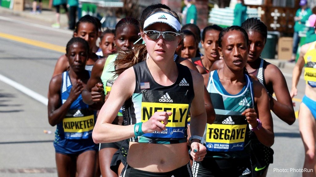 Neely Spence Gracey '12 runs her first marathon in Boston in 2016.