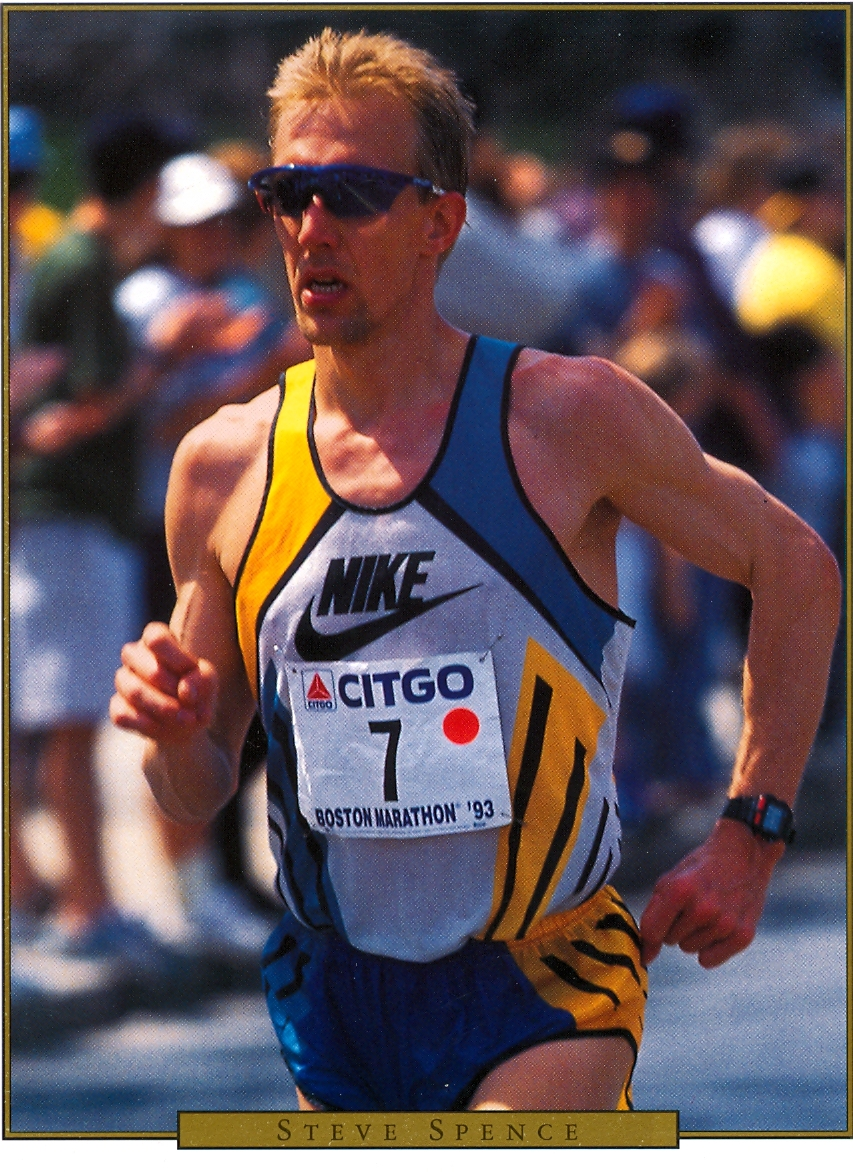 Steve Spence '85 running the Boston Marathon for the second time in 1993.