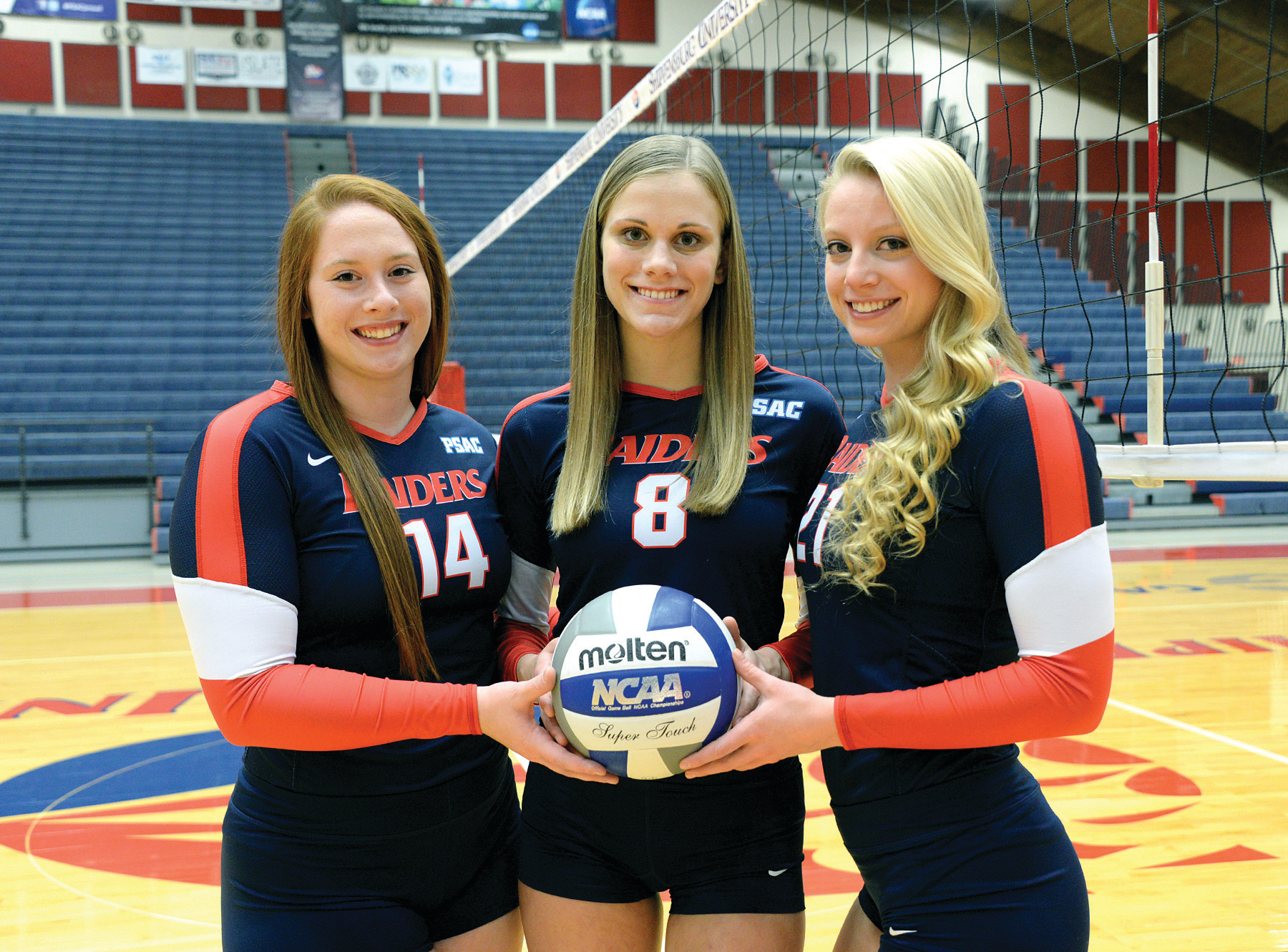 On the volleyball court, Peluso, Goerl, and Nolan helped the team earn its first PSAC championship in 2015.
