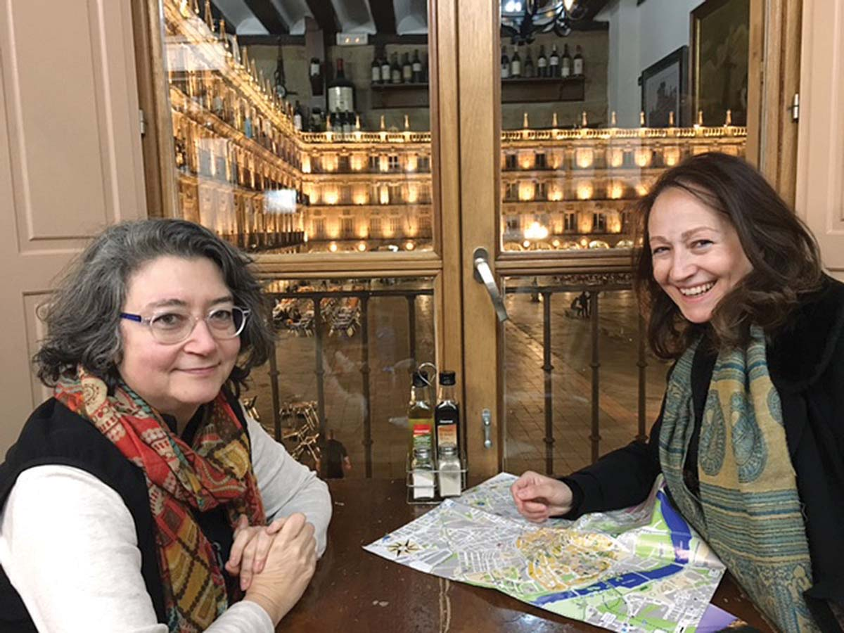 Enjoying coffee after a conference in Salamanca with composers Mercedes Zavala (left) and Consuela Diez.