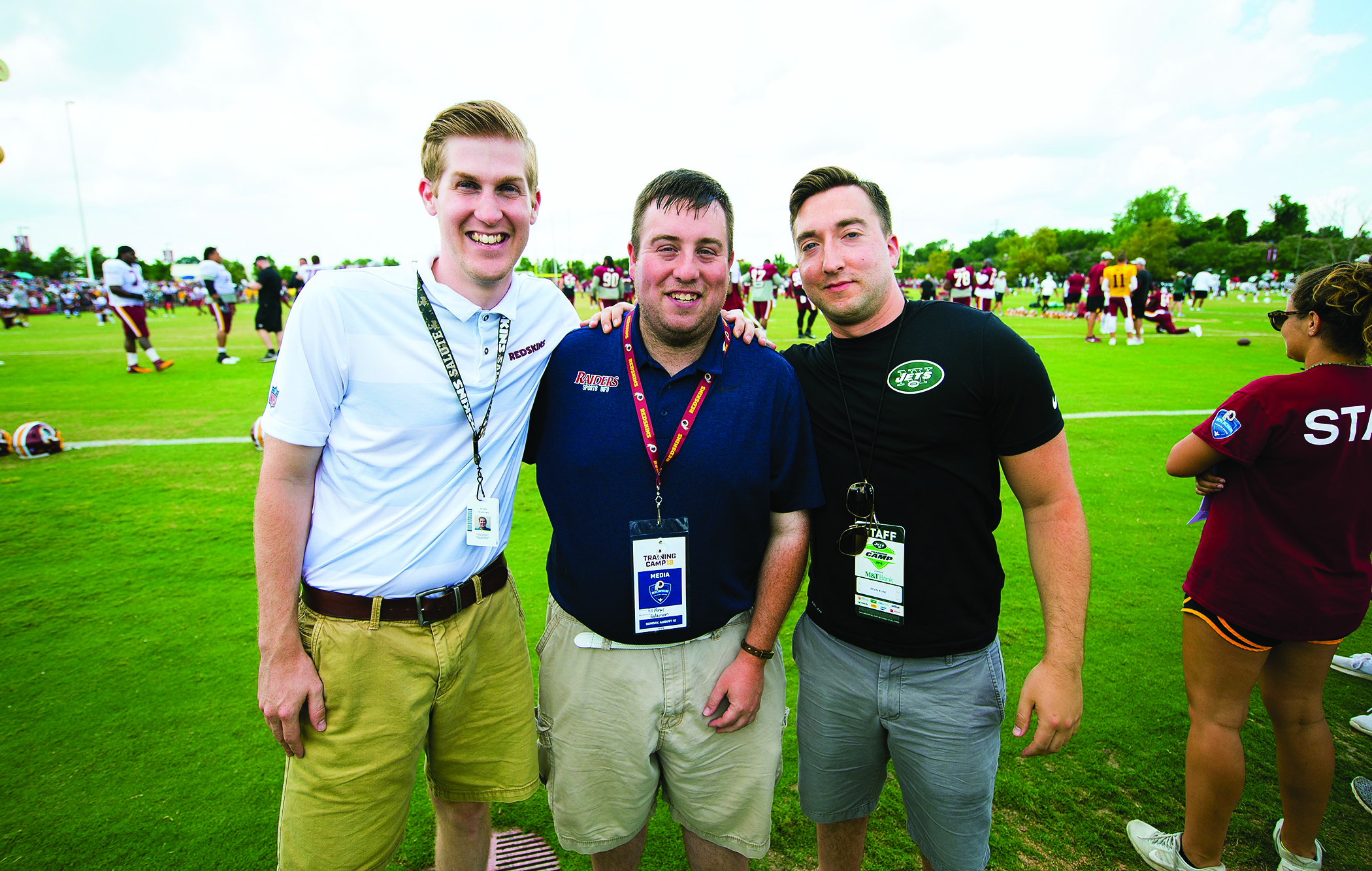 Now working in social media for the NFL, Perry Mattern '14–'17 (left) and Kevin Kline '13M (right) gained valuable work experience as graduate assistants for Bill Morgal '06–'10 (center), Shippensburg's sports information director.