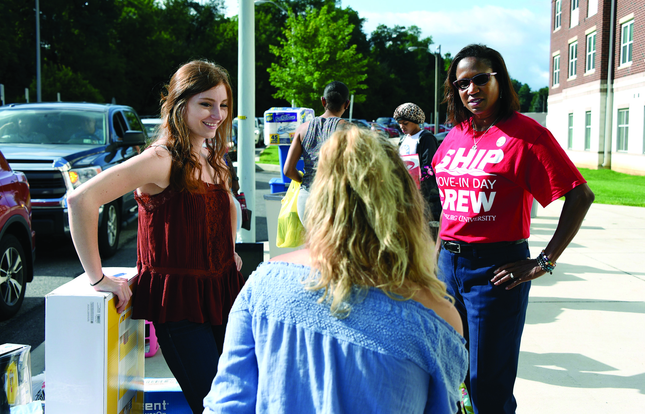 Getting to know students during move-in day.