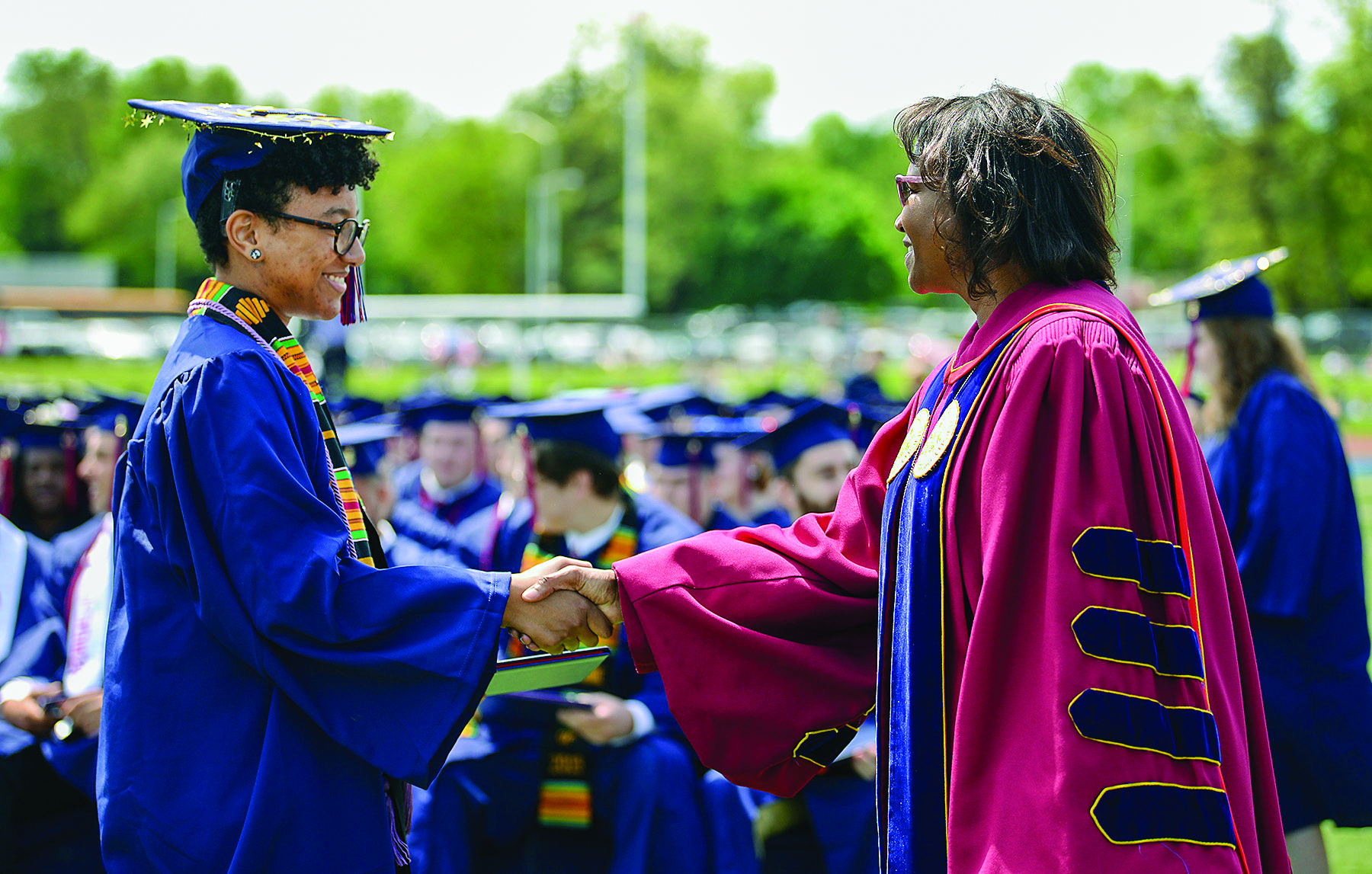 President Laurie Carter congratulates Ship's newest alumni during spring commencement.