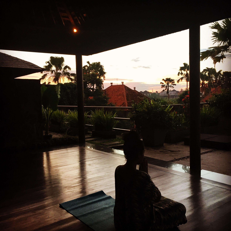 Rooftop yoga in Canggu hostel
