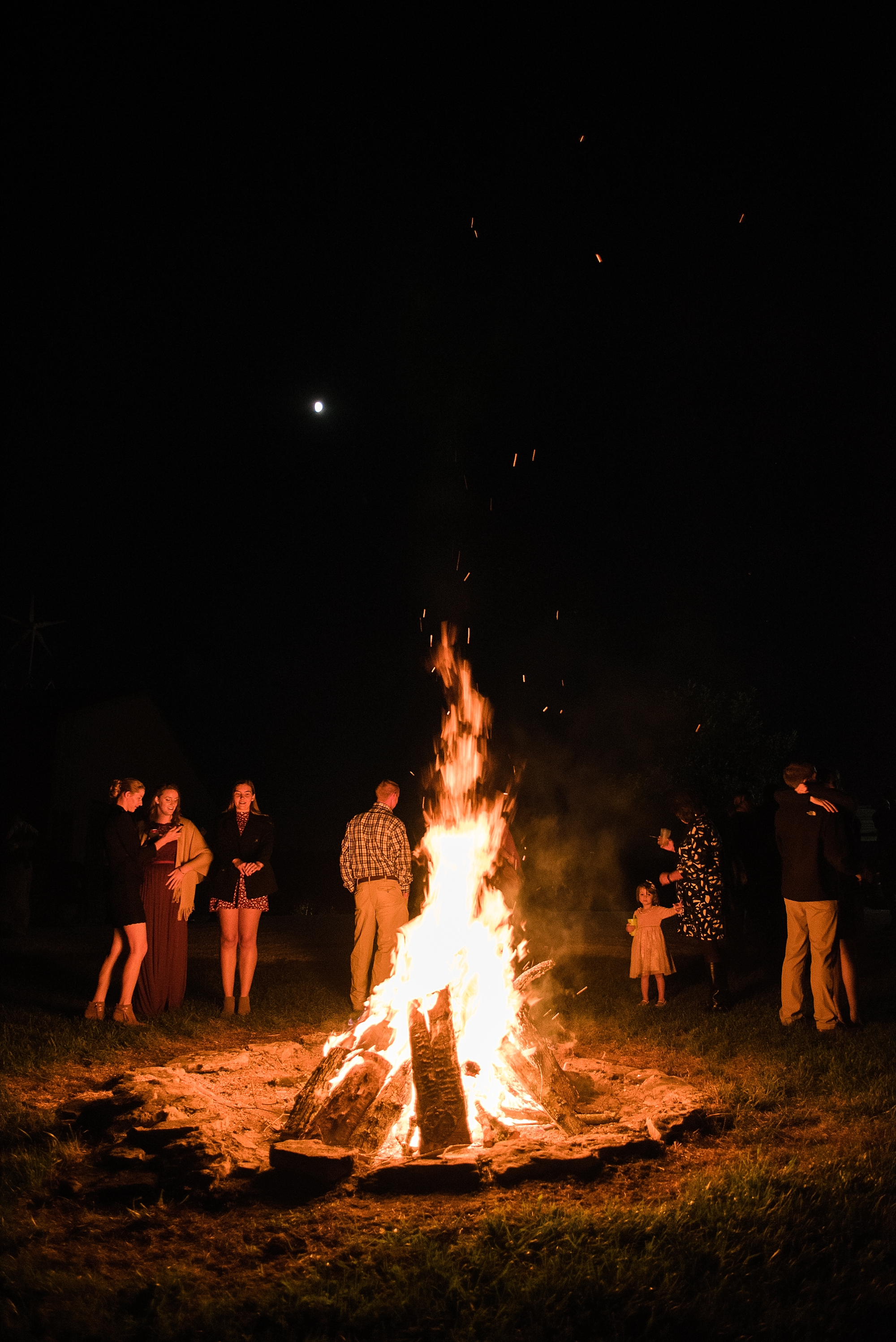 Who can resist a reception with a bonfire?