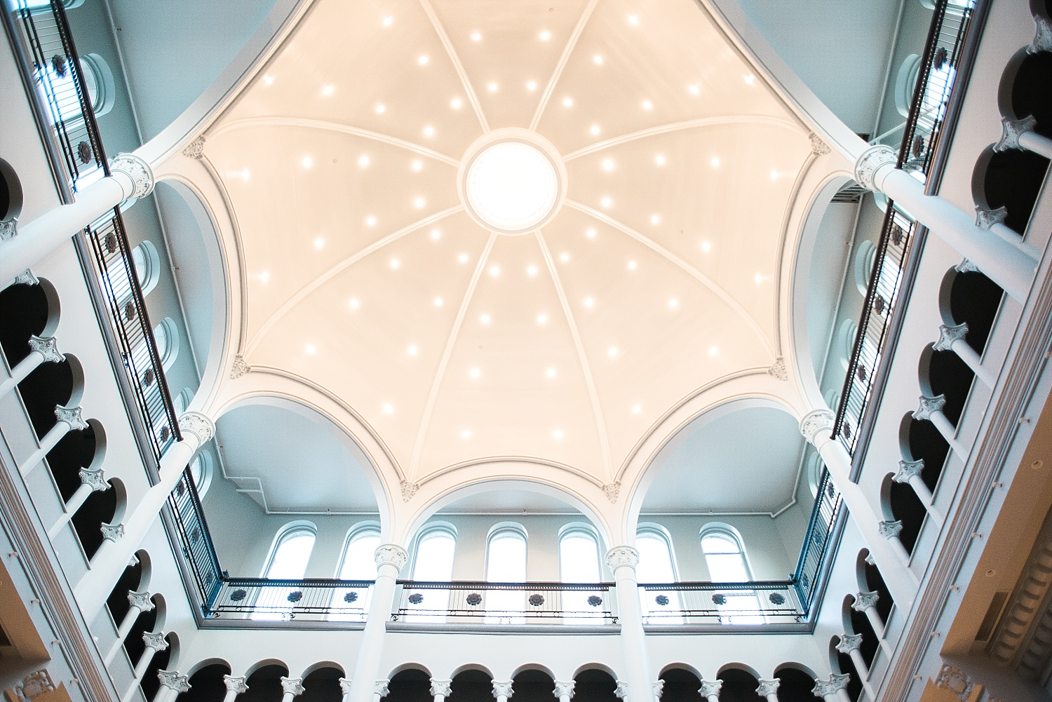 Limestone Hall is absolutely amazing!  Love this view of the domed ceiling!