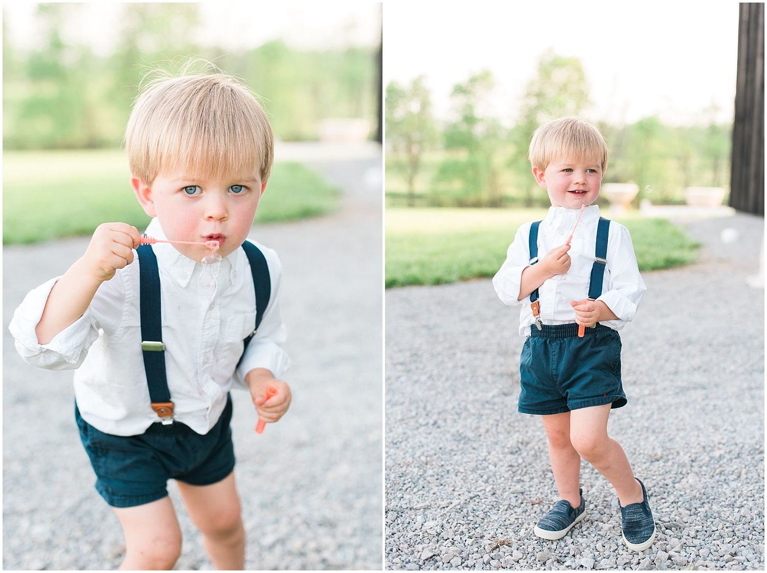 This ringbearer was the cutest little thing! He loved blowing those bubbles!