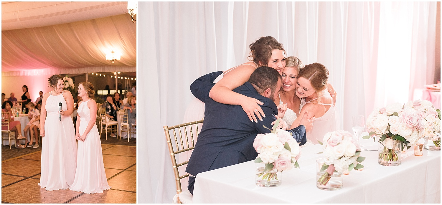 Two sweet bridesmaids sang to the newlyweds.