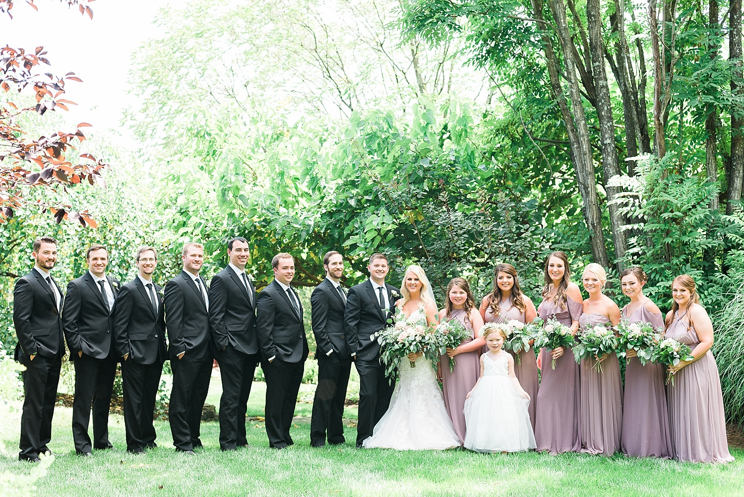 mauve-black-wedding-party