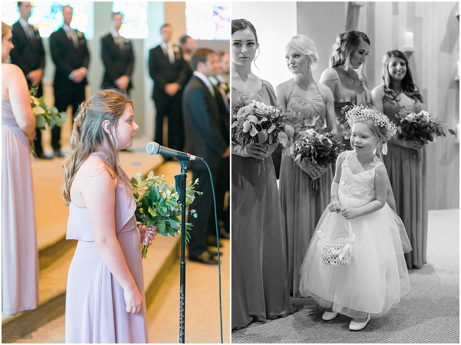 Madison singing as Lauren comes down the aisle.  Love this shot of the sweet flower girl watching!