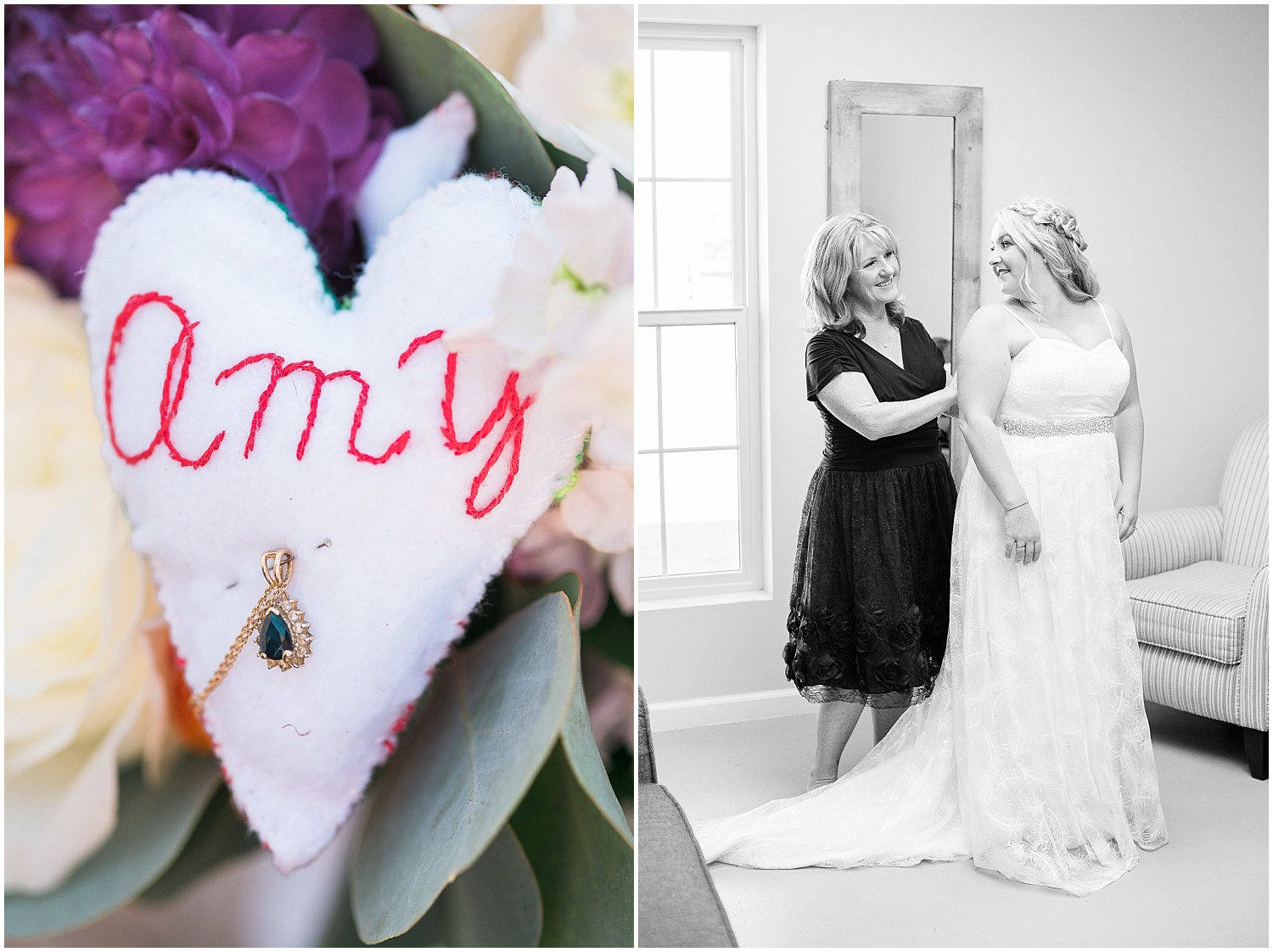 This heart and necklace attached to Amy's bouquet were very special to her.