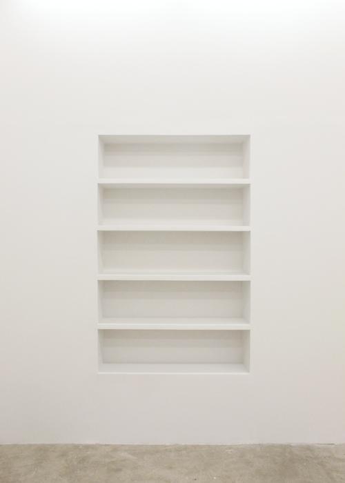 Aaron Aujla, Bookshelf , 2013,wood, nails, plaster, wood fill, latex paint 71 x 46 x 12 in
