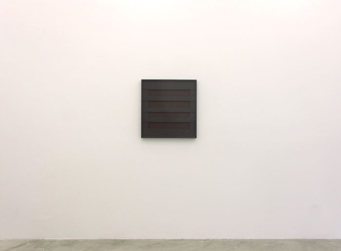 John Pittman, #214 - Homage , 2012, alkyd on wood relief 26 x 24 x 1.75 in