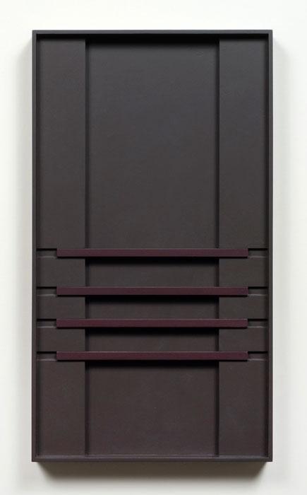 John Pittman, #185 - Sable Shadow , 2010, alkyd on wood relief 18 x 10 x 1.5 in