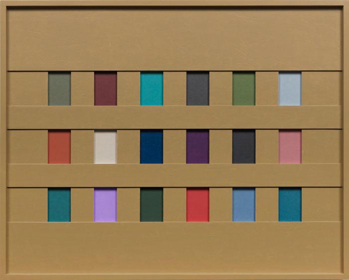 John Pittman, #212 - Grid 18 - Rattan , 2012,alkyd on wood relief,24 x 30 x 1.75 in