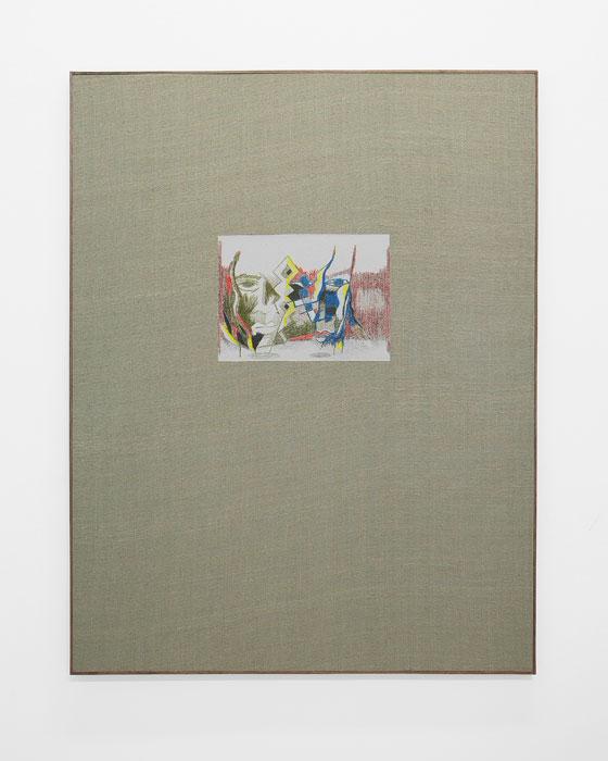 Aleksander Hardashnakov, Untitled (Two Faces Three Eyes) ,2012,gesso, gouache, acrylic, colored pencil, spray fix on silk with artist's frame,62 x 48 in