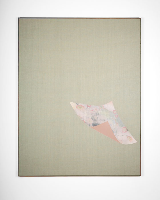 Aleksander Hardashnakov, Untitled (Law & Order),  2012,gesso, gouache, acrylic, colored pencil, spray fix on silk with artist's frame,62 x 48 in