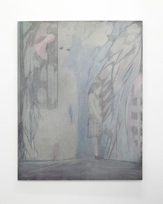 Aleksander Hardashnakov, Untitled (Woman, Young Woman) ,2012,oil, gesso, fabric dye, colored pencil, spray fix on canvas,62 x 48 in