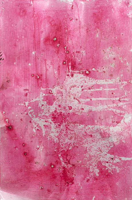 Ryan Foerster,  cherry blossom printing plate - damaged,  2012, aluminum printing plate with Kwik print emulsion, 35 x 23 in