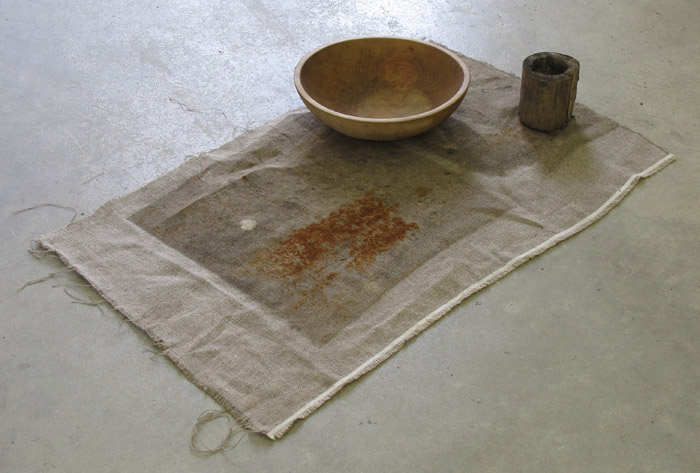 Ryan Foerster,  I'm fucking hungry - Your fucking hungry , 2011-2012, bowl, burlap, plant, 25.5 x 40 x 5 in
