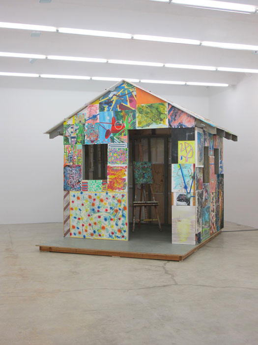 Andy Cross,  House Painter , 2012, paintings, construction materials, 125 x 137 x 144 in (front)