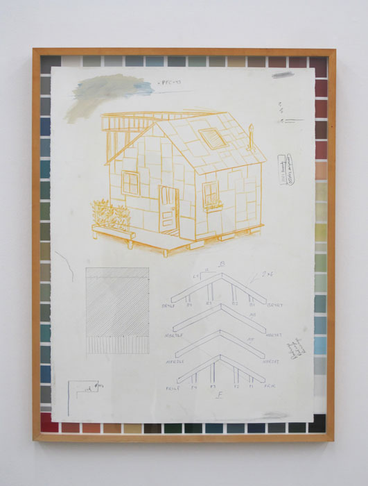 Andy Cross,  Color Chart Cottage , 2012, mixed media on paper, 33 x 25 in