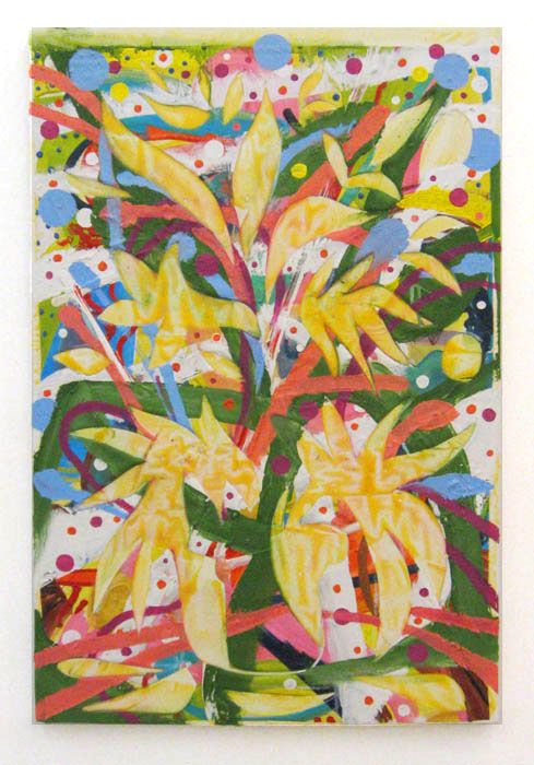 Andy Cross,  Wood Glue Flowers , 2012, oil and wood glue on collaged canvas, 36 x 24 in