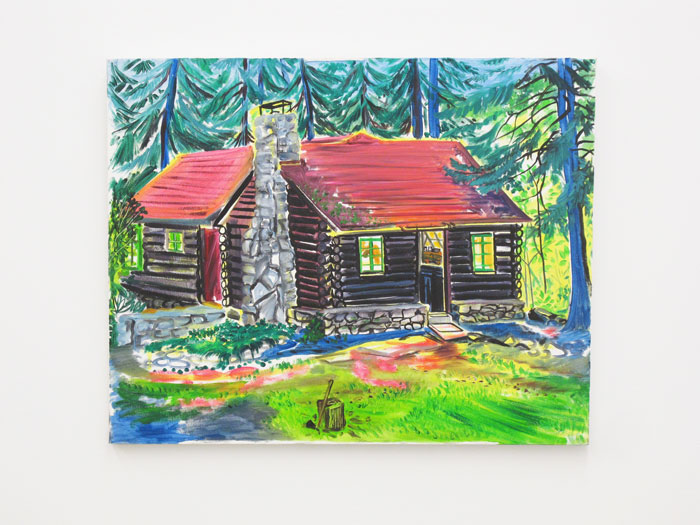 Andy Cross,  Matt's Cabin , 2010, acrylic and oil on canvas, 24 x 30 in